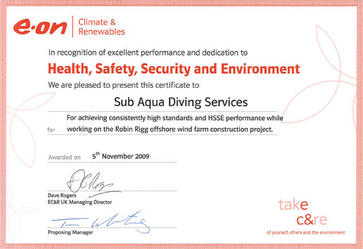 E-ON health, safety, security and environment certificate for Sub Aqua Diving Services