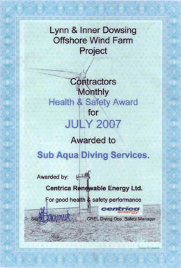 Centrica health and safety performance certificate for Sub Aqua Diving Services